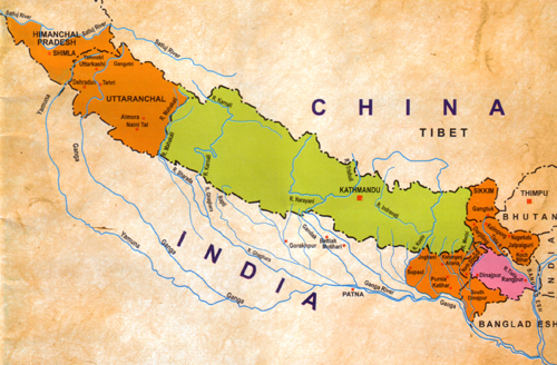 Map nepal india china integration through media published date saturday june 18th 2016 0823 pm gumiabroncs Gallery