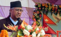 Nepali Congress President Sher Bahadur Deuba addresses a function organised in Itahari of Sunsari district, on Friday, December 2, 2016. Photo: RSS