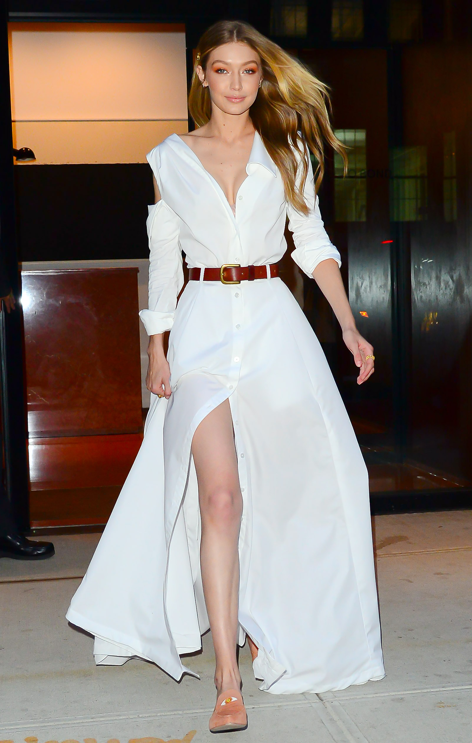 6453bb5fe37 Looking Angelic! Gigi Hadid Wears Two Floaty All White Outfits Ahead ...